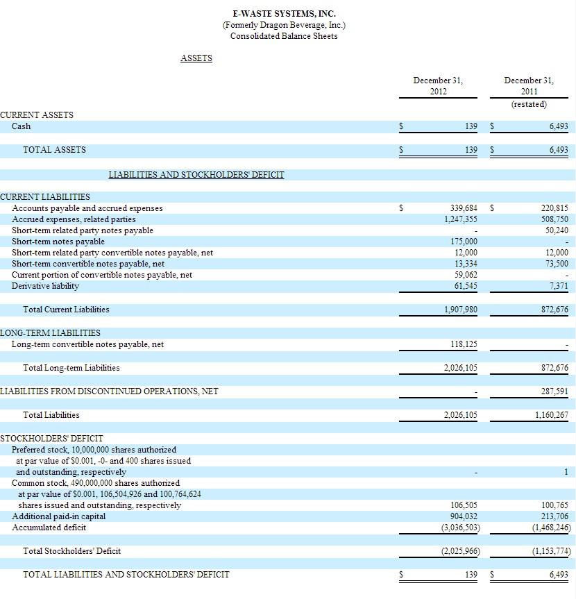 EWSI Balance Sheet